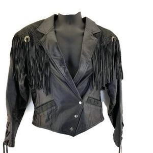 Bermans Black fringed Womans Biker leather jacket